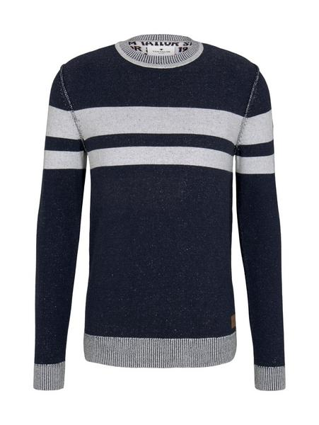 plated sweater - 25747/navy white plated stripe