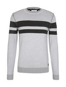 plated sweater - 25748/white black plated stripe