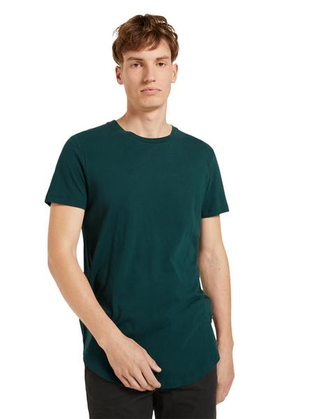 T-shirt with woven badge - 10834/Deep Green Lake