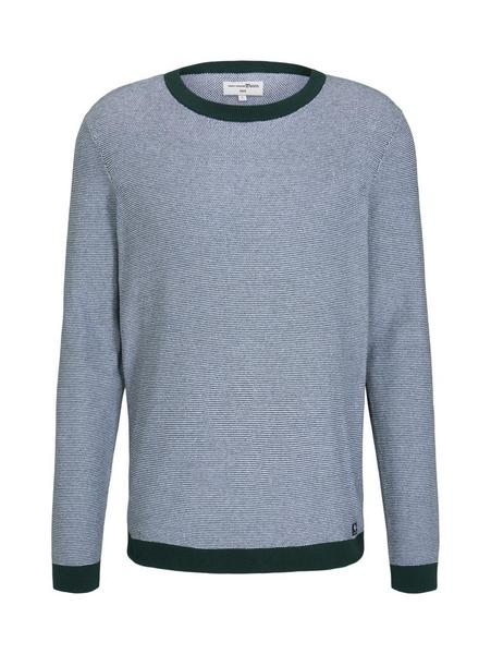 structured crewneck - 26652/green white arc design