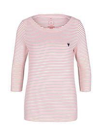 T-shirt stripe boat neck, white peach small stripe