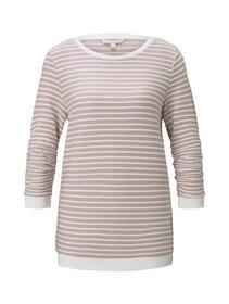 striped jacquard sweat, rose white structure stripe