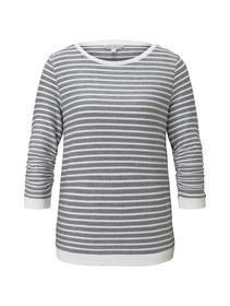striped jacquard sweat, blue white structured stripe