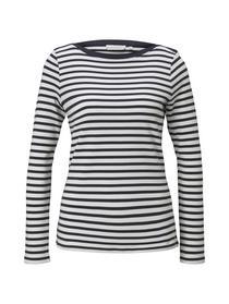 interlock with contrast neck, navy white stripe