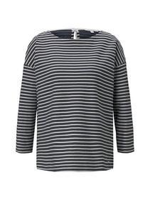 loose structured stripe tee, blue melange white stripe
