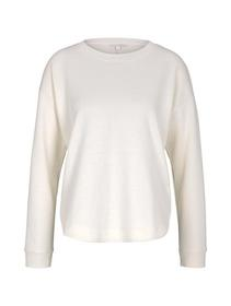 sweater with rounded hem, soft creme beige