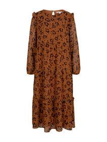printed dress with ruffles, flower leo print