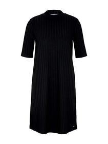 mini  rib dress, deep black
