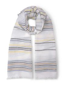 structured striped scarf, creme blue yellow stripe