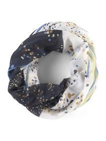 striped printed loop scarf, patchwork dot print