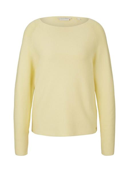 structured raglan pullover, soft yellow