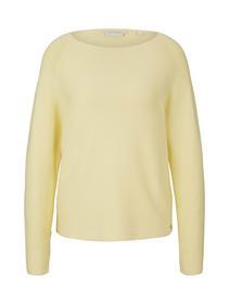 structured raglan pullover, soft yellow