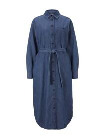 belted denim dress, Clean Mid Stone Blue Denim