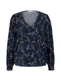 balloon sleeve v-neck blouse - 26430/blue dot prin