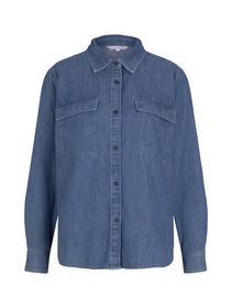 denim chest pocket shirt, Clean Mid Stone Blue Denim