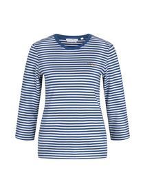 striped tee with embro, indigo blue creme stripe