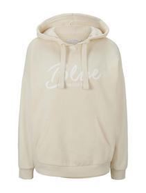 hoodie with print artwork, soft creme beige