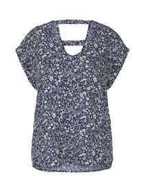 printed v-neck blouse, blue flower print