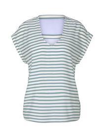printed v-neck blouse, mineral blue white stripe