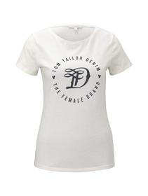basic jersey print tee - 10348/Gardenia White