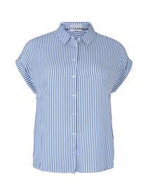 blouse with short sleeve, marina white vertical stripe