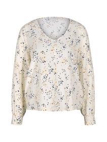 balloon sleeve v-neck blouse - 26429/creme dot pri