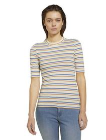 striped mockneck tee, creme blue yellow stripe
