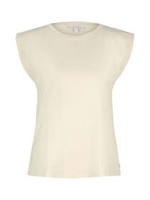 wide shoulder tee, soft creme beige