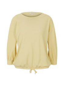 waffle optic tee with buttons, soft yellow