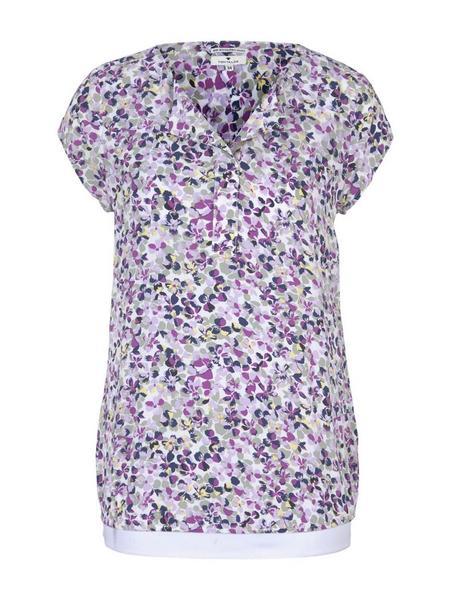 blouse with feminine neckline, offwhite floral design