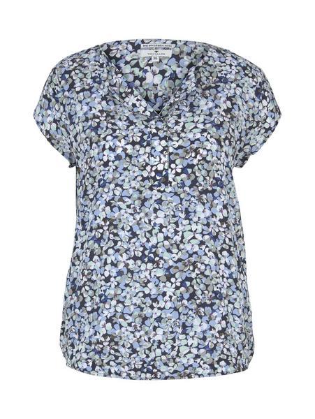 blouse with feminine neckline, navy floral design