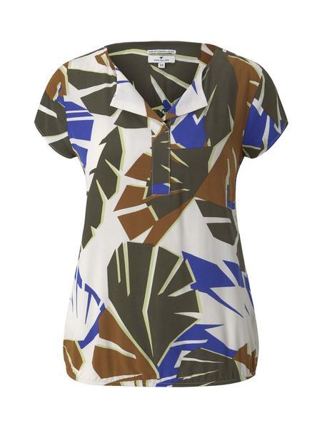 blouse with feminine neckline, multicolor botanical design