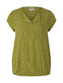 blouse with feminine neckline, green geometrical design