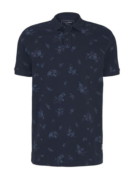 polo with all over print, navy tonal shred flower print