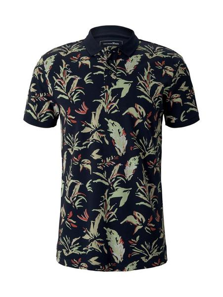 polo with all over print, navy abstract flower print