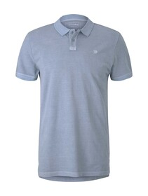 polo with washed look, Foggy Blue