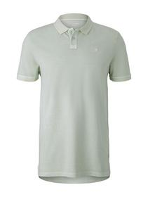 polo with washed look, smooth green