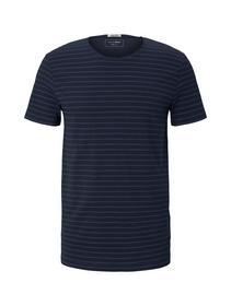 striped T-shirt, navy blue tonal stripe