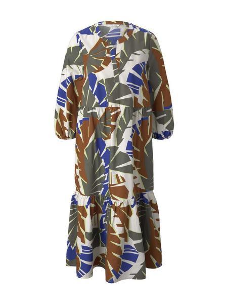 dress with flounce, multicolor botanical design