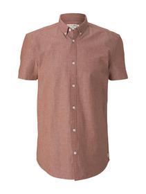 short sleeve denim shirt, rost orange chambray