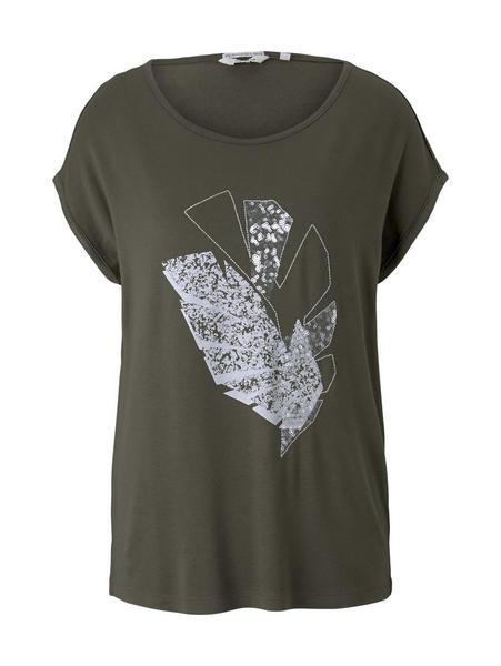 T-shirt placed print, Grape Leaf Green