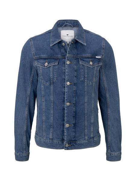 trucker denim jacket, mid stone wash denim