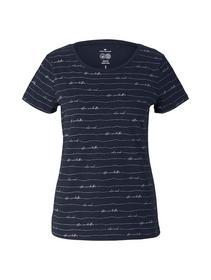 T-shirt printed, blue wording design