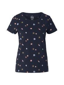 T-shirt printed, navy seashell design