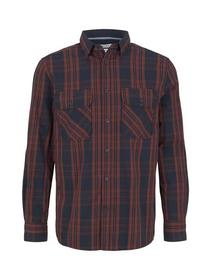 organic checked bedford shirt, navy red check on bedford
