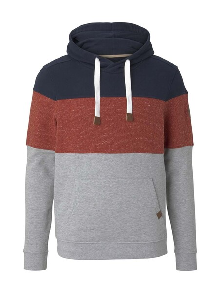 hoodie with fabric mix, Middle Grey Melange
