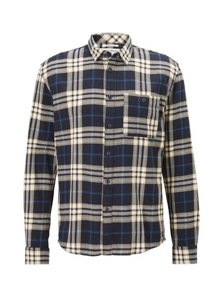 organic check shirt, navy base big twill check