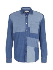 denim shirt, laser washed  blue  denim