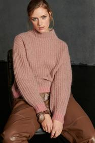 Rippstrick-Pullover, red