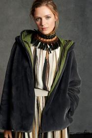 Kapuzenjacke aus Fake-Fur, greenish grey